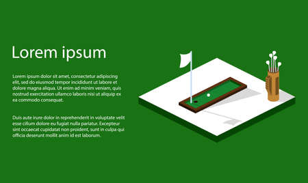 Isometric 3D vector illustration golf course with a ball and a golf bag Фото со стока - 90141783