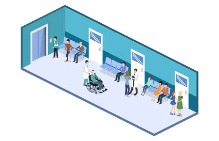Isometric 3D vector illustration patients waiting for an elevator and waiting room for a doctor Stock Illustratie