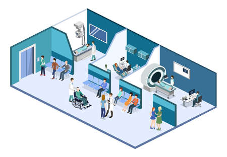 Isometric 3D vector illustration patients waiting room for a doctor. Department of Gynecology, MRI and X-ray room Vettoriali