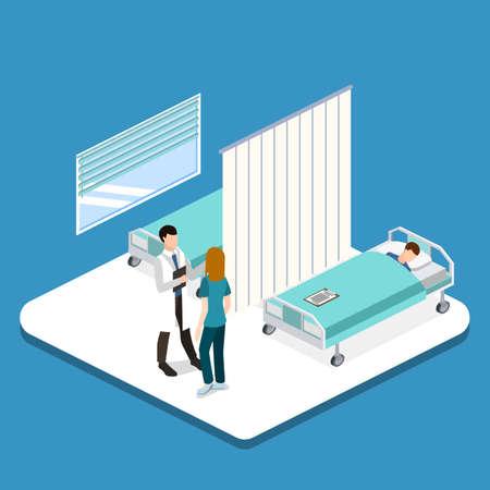 아이소 메트릭 3D 벡터 일러스트 레이 션 환자와 의사는 병원 방의 인테리어. 질병의 존재에 대한 환자의 검사.