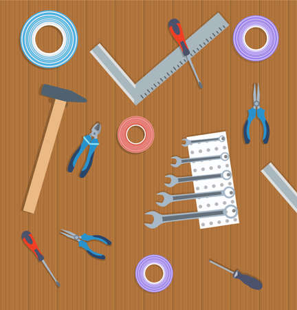 Flat vector illustration working tools on wooden top view