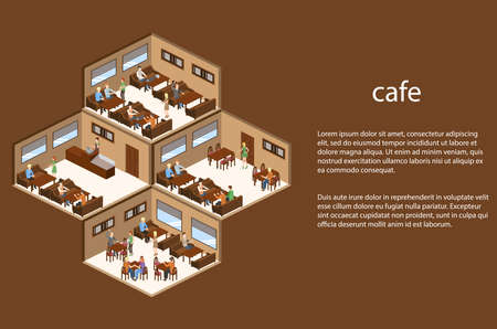 Isometric 3D vector illustration design interior coffee shop, coffee shop with waitresses and visitors Illustration