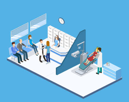 orthodontist: Isometric 3D vector illustration people are enrolled to see a dentist. A nurse is taking patients. The dentist treats the patient. People are waiting for a dentist.