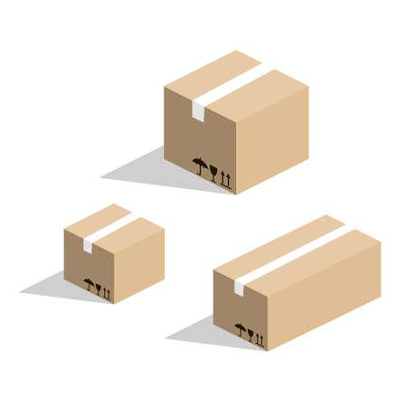 Isometrische 3D Vektor Karton Karton für Waren Standard-Bild - 90146559