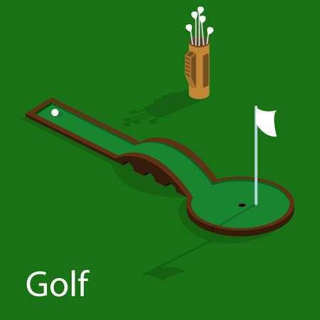 Isometric 3D vector illustration golf course with a ball and a golf bag