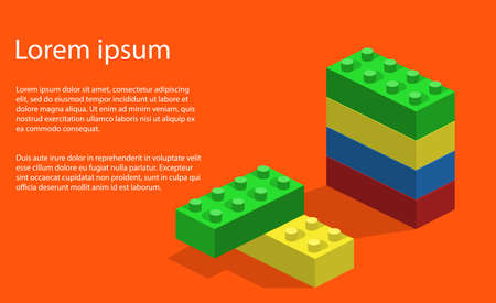Giocattolo isometrico dell'illustrazione di vettore 3D per il costruttore e le particelle elementari dei bambini