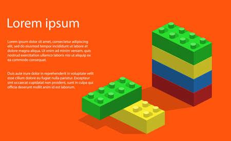 Isometrisch 3D vectorillustratiestuk speelgoed voor kinderenbouwer en bouwstenen