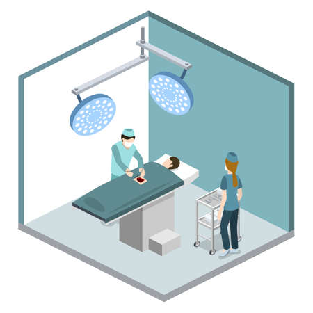 Isometric 3D vector illustration surgeon operates on the patient. The nurse assists the doctor. The doctor is treating the patient. Stock Illustratie