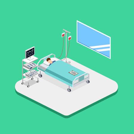 아이소 메트릭 3D 벡터 일러스트 레이 션 병원 방 환자와 dropper 인테리어