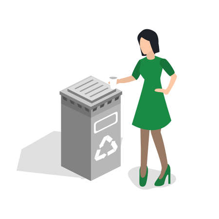 Isometric 3D vector illustration woman throwing garbage into a trash can Illustration