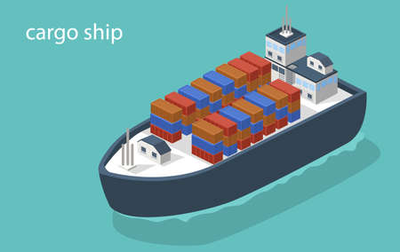 Isometric 3D vector illustration cargo ship on the water. Shipping boxes and containers on a ship.