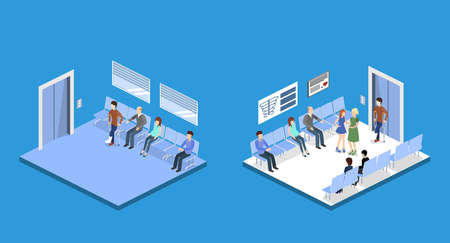 Isometric 3D vector illustration patients waiting for an elevator and waiting room for a doctor Vectores