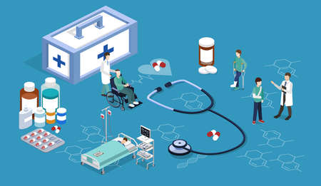 Isometric 3D vector illustration doctors take care of their patients. Set of medical items.