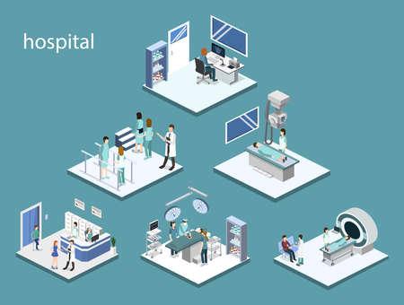 Conjunto de ilustración de vector isométrico 3D de recepción en el hospital, mrt, rayos x, cirugía, rehabilitación