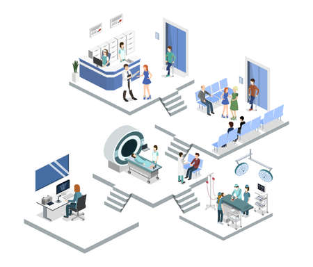 Isometric 3D vector illustration set of reception in the hospital, mrt, x-ray, surgery Illustration