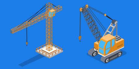 Isometric 3D illustration set building lifting crane