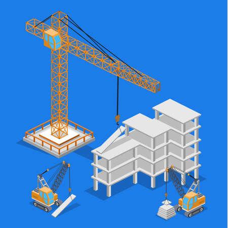 Isometric 3D vector illustration Isometric 3D vector illustration building lifting crane, construction building