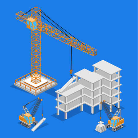 Isometric 3D vector illustration Isometric 3D vector illustration building lifting crane, construction building
