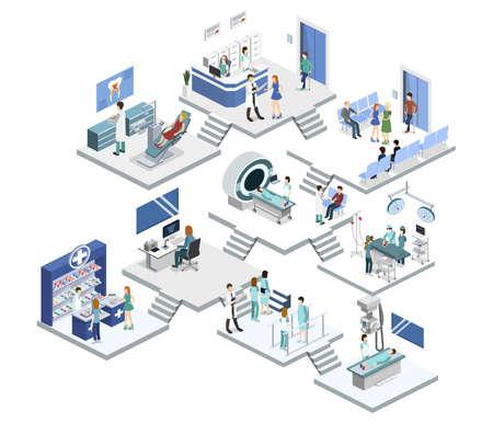 Isometrische 3D vectorillustratieset ontvangst, mrt, chirurgie, rehabilitatie, apotheek en tandarts