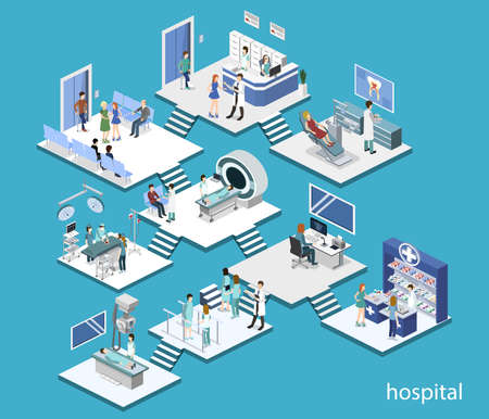Isometric 3D vector illustration set of reception, mrt, surgery, rehabilitation, pharmacy and dentist