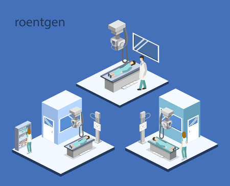 Isometric 3D vector illustration roentgen x-ray study. Diagnosis and search for the disease with magnetic radiation. The doctor scans the patient with x-ray