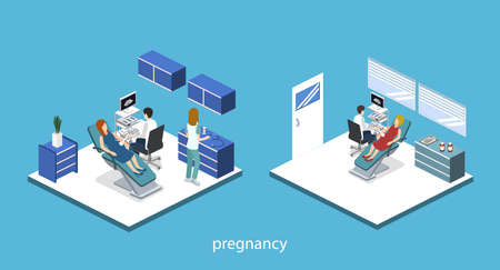 Isometric 3D vector illustration pregnant woman at a doctors appointment. Doctor examines a pregnant woman by ultrasound