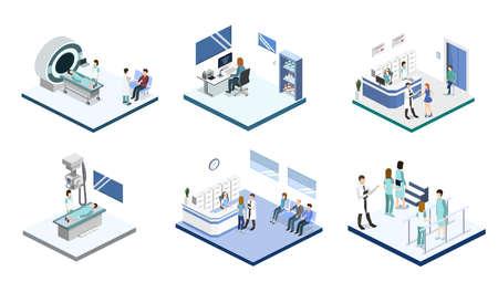 Conjunto de ilustración de vector isométrico 3D de recepción en el hospital, mrt, rayos x, cirugía, rehabilitación Ilustración de vector