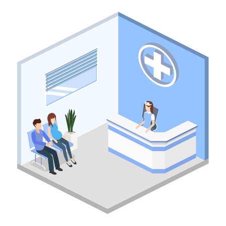 Isometric 3D vector illustration hospital reception with patients. Patients expect to see a doctor in the lobby Illusztráció
