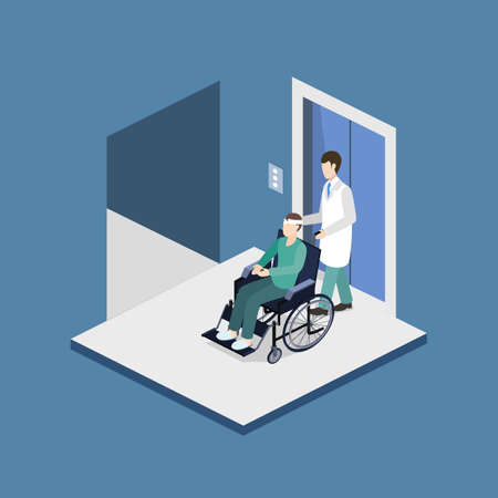 Isometric 3D vector illustration doctor with a patient on a wheelchair came out of the elevator Ilustração