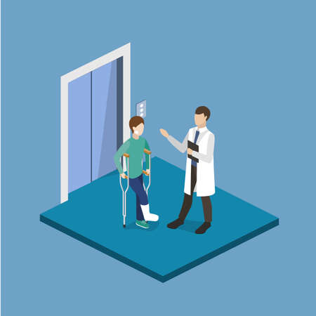 Isometric 3D vector illustration doctor talking to a patient with a broken leg
