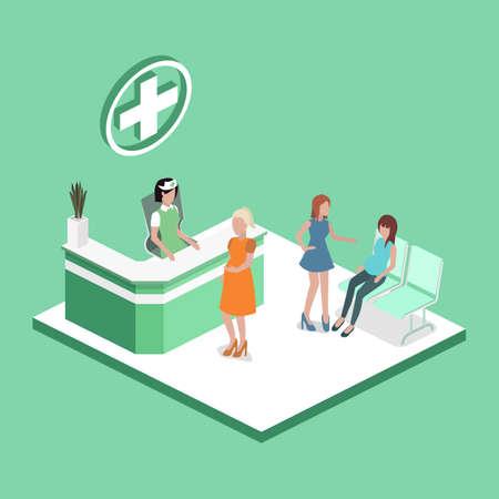 Recepción de hospital isométrica del ejemplo del vector 3D con los pacientes. Las mujeres embarazadas están esperando la recepción en el vestíbulo