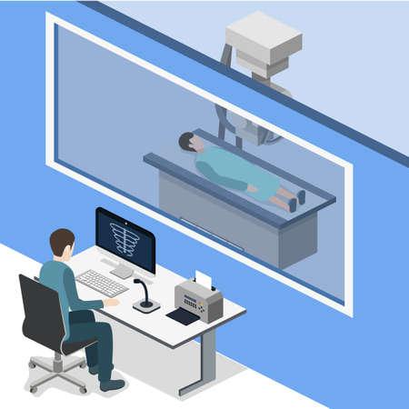 等角投影の 3D ベクトル図レントゲンの x 線的研究。診断と電磁放射を伴う疾患を検索します。医師が x 線で患者をスキャンします。