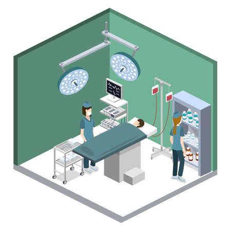 Isometric 3D vector illustration surgeon operates on the patient. The nurse assists the doctor. The doctor is treating the patient. Ilustração