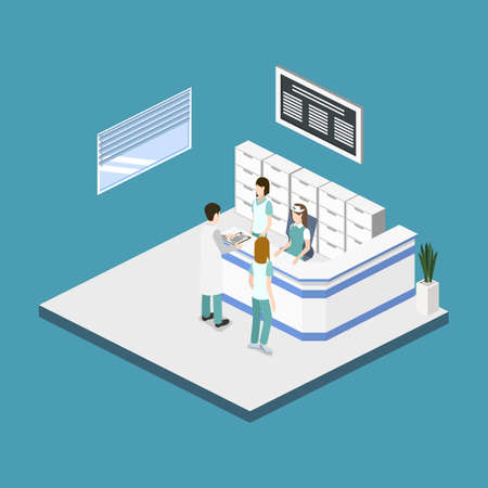 Isometric 3D vector illustration hospital reception with patients. Patients expect to see a doctor in the lobby Illustration
