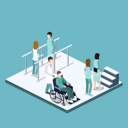 Izometryczny 3D ilustracji wektorowych rehabilitacji fizycznej po złamaniu. Fizjoterapeuta zajmuje się leczeniem pacjenta