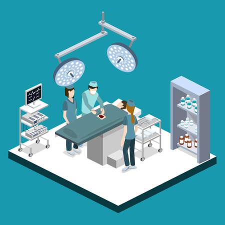 Isometrische 3D-vector illustratie chirurg werkt op de patiënt. De verpleegster staat de dokter bij. De dokter behandelt de patiënt.