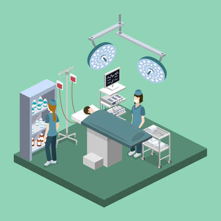 Isometric 3D vector illustration surgeon operates on the patient. The nurse assists the doctor. The doctor is treating the patient. Illustration