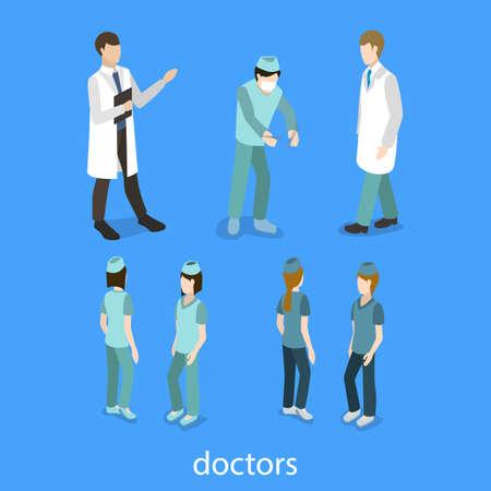 医療従事者の等尺性 3 D ベクター イラスト集。医師、外科医、看護師