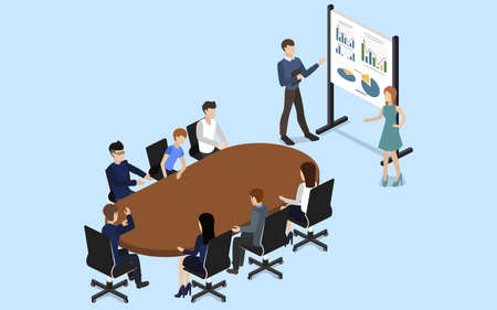 Isometric 3D wektorowego ilustracyjnego pojęcia spotkanie przy biznesową konferencją
