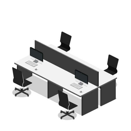 Isometric 3D vector illustration Interior of department office with workplaces Vectores