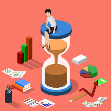 Isometric 3D vector illustration hourglass and a set of office supplies for business with worker, worker in hourglass Illustration