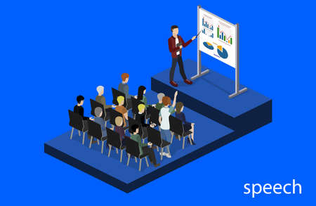 Isometric 3D vector illustration concept meeting at a business conference