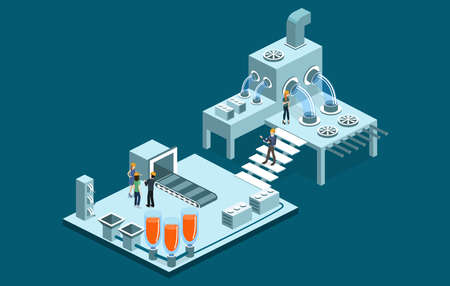 Isometric 3D vector illustration research laboratory with chemicals. Tanks with substance, conveyor and wires with equipment