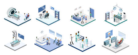 Isometric 3D vector illustration set of reception, mrt, x-ray, surgery, rehabilitation and dentist