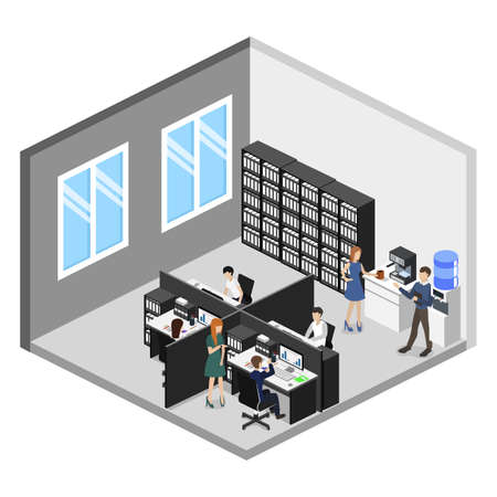 Isometric 3D vector illustration Interior of department office with workplaces Ilustrace