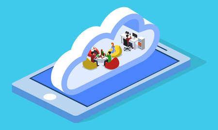 Isometric 3D vector illustration concept of a cloud office with people with a phone. Data processing in the cloud.