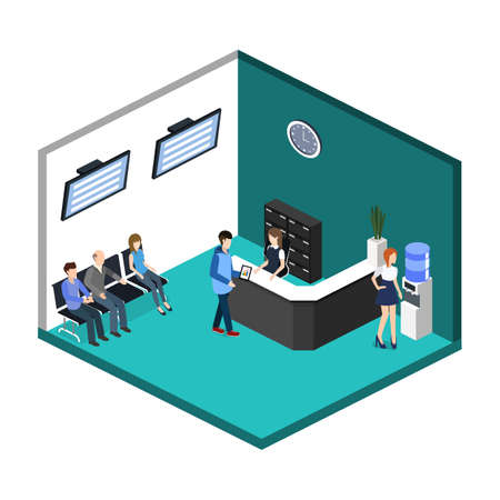 Isometric 3D illustration Interior of department reception with workplaces Vectores