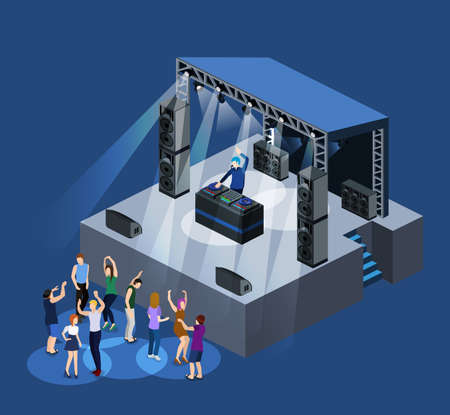 Isometric 3D vector DJ party on stage behind the remote control
