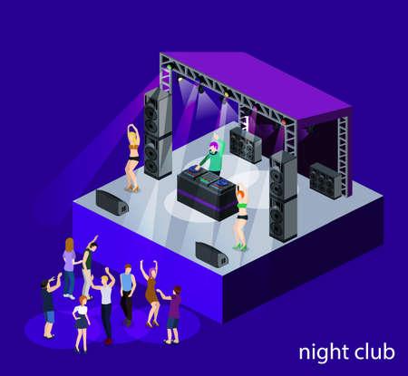 リモコンの後ろのステージ上のアイソメ3DベクトルDJパーティー。ダンスの人々とナイトクラブ