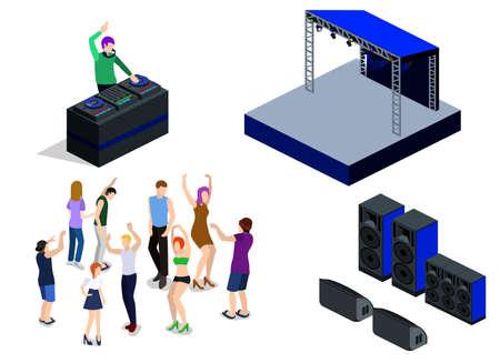 Isometrische 3D-vectorcollectie van objecten voor het creëren van een nachtclub. DJ-feest op het podium achter de afstandsbediening. Dansende mensen en Scene, DJ-afstandsbediening en luidsprekers